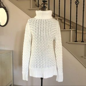 J Crew White XO Cable Knit Turtleneck Sweater